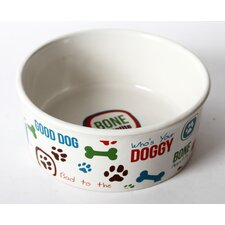 "Lucky Dog ""Bone Appetite"" Stoneware Dog Bowl"
