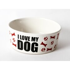 "Just Dogs ""I Love My Dog"" Stoneware Dog Bowl"