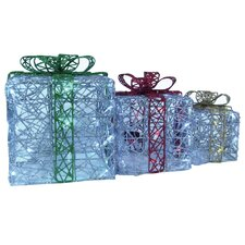 Spun Glitter 100 Light LED Gift Boxes (Set of 3)