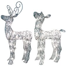 Spun Glitter Miniature Baby Deer Sculpture Christmas Decoration (Set of 2)
