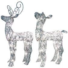 Spun Glitter Miniature Baby Deer Sculpture Christmas Decoration 2 Piece Set