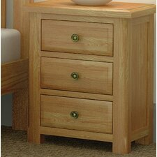 Hardy Oak 3 Drawer Bedside Table