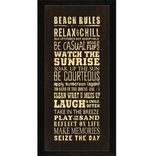 Beach Rules Framed Textual Art