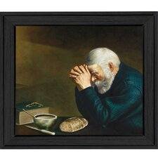 Old Man Praying Framed Painting Print