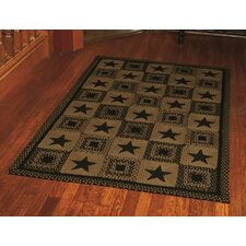Country Star Black Rug