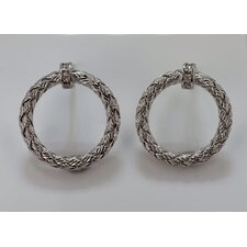 Mesh Diamond Hoop Earrings