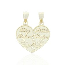 Break-a-part Big Sister and Little Sister Heart Charm