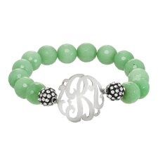 Semi-Precious Beaded Bracelet with Sterling Silver Initial