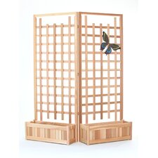 4 Piece Planter Set with Trellis Screen