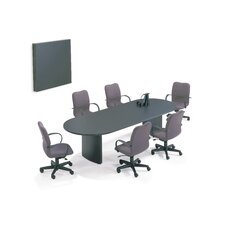"72"" Wide Fluted T-Mold Oval Top Conference Table with Plinth Curve Base"