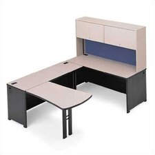 "Endure 102"" W U-Shape Left Configuration Computer Workstation with Hutch"