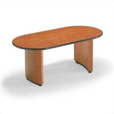 "96"" Wide Bull Nose Oval Top Conference Table with Plinth Curve Base"
