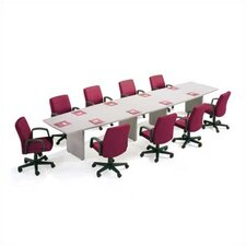 "144"" Wide Two-Section Self Edge Boat Shape Top Conference Table with Slab Base"