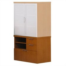 Unity Executive Series Wood Floating Mixed Storage Cabinets