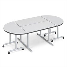 "<strong>ABCO</strong> Smart Tables: 24"" x 84"" Rectangle Thermofused Melamine Conference Table and Half Circle Kit"