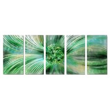 Abstract Sculptures Dandelion Essence 5 Piece Original Painting Plaque Set