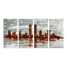 Abstract Sculptures Metropolis Melancholy 4 Piece Original Painting Plaque Set
