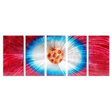 Abstract Sculptures Dandelion Explosion 5 Piece Original Painting Plaque Set