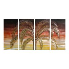 Tree Sculptures Coconut Palm 4 Piece Original Painting Plaque Set