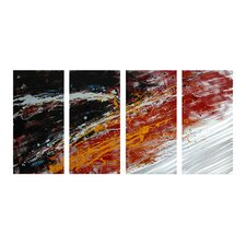 Abstract Sculptures Mumbo Jumbo 4 Piece Original Painting Plaque Set