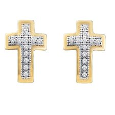 <strong>Goldia</strong> 10K Cross Diamond Stud Earrings