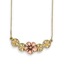<strong>Goldia</strong> 14k Two-Tone Gold and Rose Gold Diamond Cut Plumeria Necklace