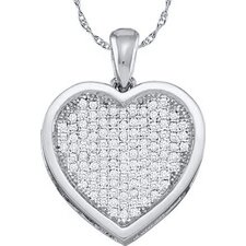 10k White Gold Heart Diamond Pendant