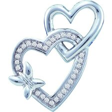 <strong>Goldia</strong> 10k White Gold Heart Diamond Pendant