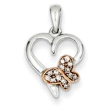 <strong>Goldia</strong> 14k Two-Tone Gold Rose Diamond Heart Pendant