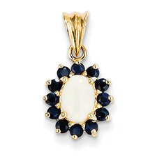 <strong>Goldia</strong> 14k Yellow Gold Diamond Sapphire Pendant