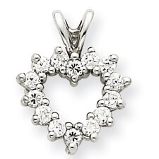 14k White Gold Heart Diamond Mounting Pendant