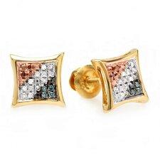 Hip Hop Round Cut Diamond Stud Earrings