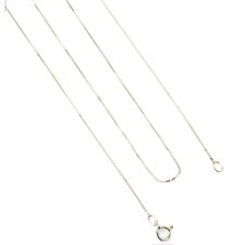 14K White Gold Box Chain Necklace