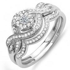 14K White Gold Round Cut Diamond Bridal Set
