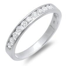 14K White Gold Round Cut Diamond Anniversary Wedding Band