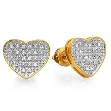 Heart Round Cut Diamond Stud Earrings