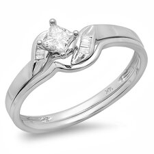 14K White Gold Princess Cut Diamond Bridal Set
