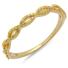 <strong>Dazzling Rock</strong> 10K Yellow Gold Round Cut Diamond Swirl Anniversary Wedding Band