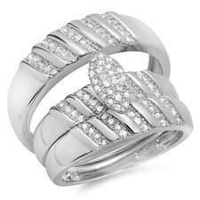 <strong>Dazzling Rock</strong> Sterling Silver Round Cut Diamond Bridal Trio