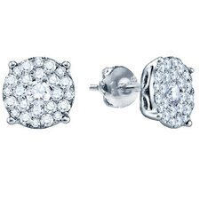 Round Cut Diamond Cluster Stud Earrings