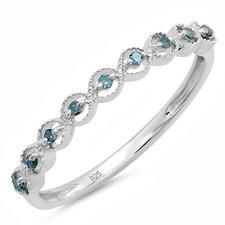 Sterling Silver Round Cut Diamond Anniversary Wedding Band