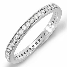 <strong>Dazzling Rock</strong> 14K White Gold Round Cut Diamond Eternity Anniversary Wedding Band