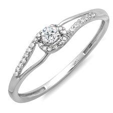 10K White Gold Round Cut Diamond Promise Ring