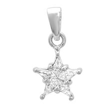14K White Gold Diamond Cluster Star Pendant