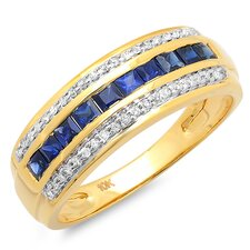 <strong>Dazzling Rock</strong> 10K Yellow Gold Princess Cut Sapphire Anniversary Wedding Band