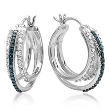<strong>Dazzling Rock</strong> Round Cut Diamond and Enamel Bead Hoop Earrings