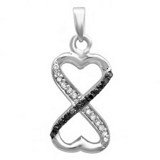 Sterling Silver Diamond Infinity Heart Pendant