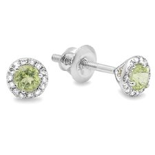 <strong>Dazzling Rock</strong> Round Cut Gemstone and Diamond Halo Stud Earrings