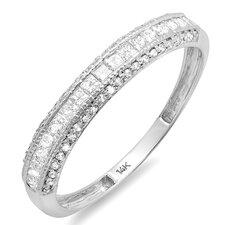 14K White Gold Princess Cut Diamond Anniversary Wedding Band