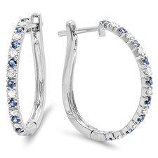 Round Cut Saphire and Diamond Hoop Earrings